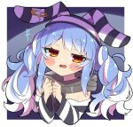 1girl animal_ears blush blush_stickers breasts chain closed_mouth collar commentary crying crying_with_eyes_open eyebrows_visible_through_hair eyelashes hair_between_eyes hat highres hololive light_blue_hair long_hair looking_at_viewer multicolored_hair off-shoulder_shirt off_shoulder official_alternate_costume prison_clothes rabbit_ears red_eyes shirt simple_background small_breasts solo streaked_hair striped striped_headwear striped_shirt symbol-shaped_pupils tareme tears thick_eyebrows translated twintails two-tone_hair upper_body usada_pekora virtual_youtuber white_background white_hair yukito_(hoshizora)