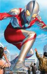 1girl 4boys alex_ross alien brown_hair comic_cover cover cover_page giant highres looking_down multiple_boys official_art open_hand pointing pointing_up science_fiction solo_focus squatting textless the_rise_of_ultraman tokusatsu ultra_series ultraman ultraman_(1st_series) yellow_eyes