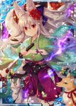 animal_ears breasts closed_mouth collaboration company_name expressionless eyebrows_visible_through_hair falkyrie_no_monshou fox_ears fox_girl fox_tail holding holding_sheath holding_sword holding_weapon japanese_clothes kimono large_breasts long_hair looking_at_viewer natsumekinoko official_art orange_eyes sheath shinkai_no_valkyrie silver_hair sword tail unsheathing very_long_hair weapon