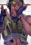 1boy abs absurdres apex_legends black_gloves blood blood_on_face bloody_weapon cropped_jacket cropped_vest fingerless_gloves gloves green_eyes green_vest grey_jacket hand_licking highres holding holding_knife jacket kawaniwa knife male_focus navel octane_(apex_legends) one_eye_covered solo tongue tongue_out upper_body vest weapon