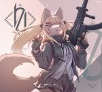 1girl :3 animal_ears animal_nose artist_name bangs belt black_gloves black_jacket black_neckwear black_ribbon black_scarf black_skirt blonde_hair blush blush_stickers body_fur breasts brown_background brown_fur buttons claws commentary cowboy_shot dated english_commentary english_text eyebrows_visible_through_hair fang finger_on_trigger fingerless_gloves fox_ears fox_girl fox_tail furrification furry girls_frontline gloves gradient gradient_background gun h&k_ump hair_ornament hair_over_one_eye hair_ribbon hairclip half-closed_eyes hands_up happy highres holding holding_gun holding_weapon jacket jpeg_artifacts long_hair long_sleeves looking_at_viewer medium_breasts miniskirt neck_ribbon open_clothes open_jacket open_mouth pleated_skirt ribbon scar scar_across_eye scar_on_face scarf shirt sidelocks signature skirt smile solo standing submachine_gun tail thigh_strap tied_hair twintails two-tone_fur ump9_(girls_frontline) waving weapon white_fur white_shirt whooo-ya