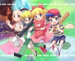 1girl 3boys :d bangs baseball_bat baseball_cap black_footwear black_hair blonde_hair blue_eyes blue_shirt blue_shorts blush bow closed_mouth commentary_request crystal dougi dress eyebrows_visible_through_hair full_body glasses grass green_eyes green_jacket green_pants hair_bow hat holding holding_baseball_bat jacket jeff_andonuts looking_at_viewer mother_(game) mother_2 multiple_boys ness_(mother_2) open_mouth pants paula_(mother_2) pink_dress poo_(mother_2) rectangular_eyewear red_bow red_footwear red_headwear semi-rimless_eyewear shirt short_hair shorts smile socks striped striped_shirt stuffed_animal stuffed_toy teddy_bear under-rim_eyewear volcano white_legwear white_pants xox_xxxxxx yellow_shirt