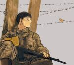 1girl barbed_wire beige_background bird black_eyes black_hair book boots brown_footwear camouflage camouflage_jacket camouflage_pants closed_mouth dirty dirty_face fullmetal_alchemist gun highres holding holding_book jacket jitome knee_up looking_at_animal looking_away military military_uniform open_book pants profile roy_mustang simple_background sitting smile solo uniform urikurage weapon weapon_request