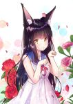 1girl alternate_costume animal_ears azur_lane bangs black_hair blunt_bangs casual commentary_request contemporary dress eyebrows_visible_through_hair flower fox_ears long_hair looking_at_viewer m_ko_(maxft2) nagato_(azur_lane) paw_pose petals pink_flower pink_rose red_flower red_rose rose sailor_dress sidelocks smile solo yellow_eyes