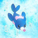 air_bubble black_eyes bubble closed_mouth commentary_request full_body gen_7_pokemon no_humans outline pokemon pokemon_(creature) popplio punico_(punico_poke) smile solo starter_pokemon swimming underwater