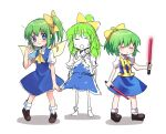 3girls ascot bangs blouse blue_dress blush bow brown_footwear closed_eyes closed_mouth colored_skin commentary_request cookie_(touhou) daiyousei diyusi_(cookie) dress eyebrows_visible_through_hair fairy_wings full_body green_hair hair_between_eyes hair_bow high-visibility_vest holding looking_at_another looking_to_the_side medium_hair multiple_girls open_mouth parody pinafore_dress ponytail puffy_short_sleeves puffy_sleeves shoes short_sleeves side_ponytail simple_background sketch smile socks style_parody touhou traffic_baton white_background white_blouse white_legwear white_skin wings xox_xxxxxx yellow_bow yellow_neckwear