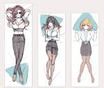 arms_behind_head belt black_hair blonde_hair breasts brown_hair chino_machiko crossed_arms crossed_legs dakimakura_(medium) demon_horns dress_shirt enma-chan hololive hololive_english horns j-chad jenma-chan lanyard large_breasts pantyhose pencil_skirt ponytail shirt skirt smile sunglasses