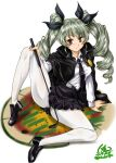 1girl anchovy_(girls_und_panzer) anzio_(emblem) anzio_school_uniform arm_support artist_name bangs belt black_belt black_cape black_footwear black_neckwear black_ribbon black_skirt cape closed_mouth commentary dated dress_shirt drill_hair emblem eyebrows_visible_through_hair gabri-l girls_und_panzer green_hair hair_ribbon hand_on_own_knee holding knee_up legs loafers long_hair long_sleeves looking_at_viewer miniskirt necktie pantyhose pleated_skirt red_eyes ribbon riding_crop school_uniform shirt shoes signature simple_background sitting skirt smile solo twin_drills twintails twitter_username white_background white_legwear white_shirt wing_collar