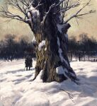 1other bare_tree boots brown_coat cane coat day english_commentary fence gazedsoul hat highres holding holding_cane knee_boots open_clothes open_coat original outdoors scenery snow solo standing tree tricorne winter