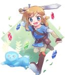1boy :d bangs blonde_hair blowing_leaves blue_eyes blue_shirt blush boots brown_footwear brown_gloves brown_pants creature eyebrows_visible_through_hair fingerless_gloves full_body gloves highres holding holding_sword holding_weapon link looking_at_another male_focus medium_hair open_mouth pants pointy_ears running rupee shield shirt smile sword the_legend_of_zelda the_legend_of_zelda:_breath_of_the_wild v-shaped_eyebrows weapon white_background xox_xxxxxx