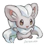 animal_focus artist_name blank_eyes brown_eyes cinccino commentary_request day_walker1117 english_text fluffy full_body gen_5_pokemon happy no_humans open_mouth pokemon pokemon_(creature) signature simple_background sketch smile solo standing white_background