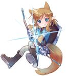1boy animal_ears bangs blonde_hair blue_eyes blue_shirt blush boots bow bow_(weapon) brown_footwear brown_gloves brown_hair brown_pants closed_mouth drawing_bow eyebrows_visible_through_hair fingerless_gloves fox_ears fox_tail full_body gloves highres holding holding_bow holding_bow_(weapon) holding_weapon kemonomimi_mode link looking_at_viewer male_focus medium_hair pants pointy_ears shield shiny shiny_hair shirt simple_background smile solo tail the_legend_of_zelda the_legend_of_zelda:_breath_of_the_wild weapon white_background xox_xxxxxx