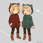 2boys alphonse_elric animal_ears arm_at_side bangs blonde_hair boots brothers brown_footwear brown_pants cat_ears child closed_mouth coat dot_nose edward_elric fake_animal_ears full_body fullmetal_alchemist fur-trimmed_coat fur-trimmed_hood fur_boots fur_trim green_coat grey_background hand_in_pocket happy harune_(haruneru) holding_hands hood hood_up light_blush looking_at_viewer male_focus multiple_boys open_mouth pants polka_dot polka_dot_background pout red_coat ribbon shiny shiny_hair siblings side-by-side simple_background standing swept_bangs tareme tsurime twitter_username ugg_boots v-shaped_eyebrows yellow_eyes younger