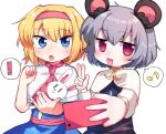 ! 2girls alice_margatroid animal_ears bangs blonde_hair blue_dress blue_eyes blush capelet cookie_(touhou) dress eyebrows_visible_through_hair grey_hair grey_skirt grey_vest hair_between_eyes hairband holding holding_phone ichigo_(cookie) long_sleeves looking_at_viewer mouse_ears multiple_girls musical_note nazrin neckerchief nyon_(cookie) open_mouth phone pink_hairband pink_neckwear pink_sash red_eyes sash selfie short_hair simple_background skirt spoken_exclamation_mark spoken_musical_note stuffed_animal stuffed_bunny stuffed_toy touhou upper_body vest w white_background white_capelet xox_xxxxxx