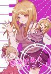 1girl :d ahoge akamatsu_kaede arms_at_sides bangs bare_shoulders blonde_hair bow breasts closed_eyes collared_shirt commentary_request contrapposto danganronpa_(series) danganronpa_10th_anniversary_costume danganronpa_v3:_killing_harmony dress flower hair_bun hair_flower hair_ornament hand_up highres large_breasts layered_dress long_hair long_sleeves looking_at_viewer miniskirt multiple_views musical_note musical_note_hair_ornament mutsuki_(yowa_otsumu) necktie off-shoulder_dress off_shoulder official_alternate_costume open_mouth pink_background pink_dress pleated_skirt purple_bow school_uniform shirt shoes skirt smile sweater_vest translation_request violet_eyes white_background white_shirt