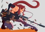 1girl anti-materiel_rifle bikini bikini_top black_gloves boots bullet fingerless_gloves gloves grey_background gun hair_ornament highres long_hair looking_at_viewer naka1379 pink_legwear redhead rifle shadow short_shorts shorts skull_hair_ornament smile sniper_rifle solo swimsuit tengen_toppa_gurren_lagann thigh-highs weapon yoko_littner