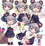 >_< 2girls ? animal_ears bangs black_blouse blouse blue_eyes blush blush_stickers candy chocolate chocolate_bar closed_eyes closed_mouth cookie_(touhou) crystal eyebrows_visible_through_hair fake_nyon_(cookie) flour food full_body grey_hair grey_skirt grey_vest hair_between_eyes jewelry looking_at_viewer looking_to_the_side mouse_ears mouse_tail multiple_girls multiple_views nazrin nyon_(cookie) open_mouth pendant purple_skirt purple_vest red_eyes short_hair skirt smile table tail touhou vest white_background white_blouse xox_xxxxxx