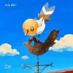 bird brown_eyes closed_mouth clouds commentary_request day fletchling from_below gen_6_pokemon highres looking_down number outdoors pokedex_number pokemon pokemon_(creature) sky standing torinoko_(miiko_draw)