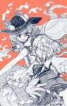 2girls bright_pupils center_frills collared_shirt eyebrows_visible_through_hair food frills fruit greyscale grin gurajio hairband hat highres hinanawi_tenshi holding holding_sword holding_weapon konpaku_youmu konpaku_youmu_(ghost) leaf long_hair looking_at_viewer monochrome multiple_girls neck_ribbon open_mouth peach pleated_skirt puffy_short_sleeves puffy_sleeves red_background red_eyes ribbon shirt short_hair short_sleeves simple_background skirt smile standing sword sword_of_hisou touhou v-shaped_eyebrows vest weapon white_pupils