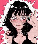 1girl aqua_nails bangs black_hair blush glasses gogo87o halftone heart heart-shaped_pupils highres long_hair looking_at_viewer original pink_background solo symbol-shaped_pupils upper_body