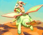1girl bike_shorts brown_hair day desert fanny_pack floating_hair flygon flying gen_3_pokemon gloves go-goggles goggles goggles_on_head hand_up highres long_hair may_(pokemon) open_mouth outdoors pokemon pokemon_(creature) pokemon_(game) pokemon_rse red_bandana red_shirt riding_pokemon shirt shoes short_sleeves sitting skirt sky torinoko_(miiko_draw) white_skirt yellow_bag