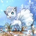 absurdres alolan_form alolan_vulpix bangs blue_sclera blue_sky colored_sclera commentary day day_walker1117 full_body gen_7_pokemon grass highres looking_up open_mouth outdoors pokemon pokemon_(creature) short_hair sky snow snowing standing tree white_eyes white_hair