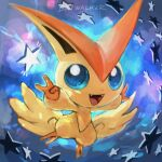 animal_focus arms_up artist_name blank_eyes blue_background blue_eyes commentary day_walker1117 english_text fangs full_body gen_5_pokemon happy highres legendary_pokemon light_trail mythical_pokemon no_humans open_mouth outstretched_arms pokemon pokemon_(creature) signature sketch smile solo star_(symbol) v victini