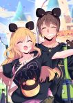 1boy 1girl animal_ears bag black_shirt blonde_hair brown_hair building closed_eyes collarbone eyebrows_visible_through_hair grin highres himiya_jouzu jewelry long_hair mouse_ears necklace open_mouth original shirt shoulder_bag smile t-shirt