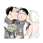 1girl 2boys 2cko aiguillette amestris_military_uniform backless_dress backless_outfit black_hair border bouquet cheek_kiss closed_eyes closed_mouth collared_jacket commentary_request dress elbow_gloves expressionless eyebrows_visible_through_hair flower from_side fullmetal_alchemist glasses gloves gracia_hughes grey_jacket hand_on_another's_arm hand_on_another's_shoulder happy holding holding_bouquet holding_hands husband_and_wife interlocked_fingers jacket jewelry kiss leaf looking_at_viewer maes_hughes medal messy_hair military military_uniform multiple_boys nervous profile ring rose roy_mustang sandwiched sash short_hair smile strapless strapless_dress sweatdrop uniform veil wedding_dress white_border white_dress white_gloves yellow_flower yellow_rose