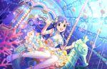 asari_nanami blue_eyes blue_sky blush dress idolmaster_cinderella_girls_starlight_stage long_hair smile underwater