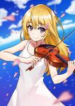1girl absurdres bare_arms bare_shoulders blonde_hair dress flower hair_flower hair_ornament highres holding instrument long_hair looking_at_viewer miyazono_kawori music outdoors petals playing_instrument shigatsu_wa_kimi_no_uso shiny shiny_hair smile solo tkk_ramune violin white_dress