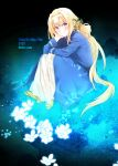 1girl alice_zuberg artist_request blonde_hair blue_cape blue_dress blue_eyes blue_flower blue_rose braid braided_ponytail cape dress flower hair_flower hair_ornament hairband highres long_hair long_sleeves looking_at_viewer osmanthus ponytail rose shoes smile sword_art_online sword_art_online:_alicization white_hairband