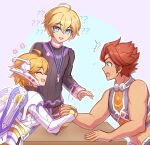 1girl 2boys :d ? ?? arm_wrestling blonde_hair closed_eyes cyborg enni fiora_(xenoblade) lanyard mecha-fiora multiple_boys muscular muscular_male no_jacket open_mouth redhead reyn_(xenoblade) short_hair shulk_(xenoblade) smile surprised sweater xenoblade_chronicles xenoblade_chronicles_(series)