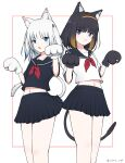 2girls alternate_costume animal_ears black_gloves black_hair black_sailor_collar black_serafuku black_shirt black_skirt blue_eyes blue_hair blush brown_hair cat_ears cat_girl cat_tail chain's closed_mouth collarbone commentary_request fang gawr_gura gloves gradient_hair hair_ornament hairband highres hololive hololive_english kemonomimi_mode looking_at_viewer midriff_peek multicolored_hair multiple_girls navel neckerchief ninomae_ina'nis orange_hairband parted_lips paw_gloves paws pleated_skirt red_neckwear sailor_collar school_uniform serafuku shirt short_hair silver_hair skirt standing streaked_hair tail twitter_username two_side_up virtual_youtuber white_background white_gloves white_shirt