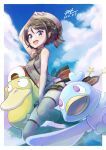 1girl :d absurdres bangs belt blush boots border braid brown_hair commentary_request dated ducklett gen_1_pokemon gen_5_pokemon grey_headwear hat highres hololive looking_at_viewer null_suke oozora_subaru open_mouth outside_border pokemon pokemon_(creature) psyduck short_hair signature sleeveless smile star_(symbol) thigh-highs tongue white_border
