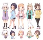 >_< 5girls :< :p animal_ears arms_up ass belt black_dress black_footwear black_hair black_legwear black_shorts blue_cardigan blush braid brown_eyes brown_footwear brown_hair bunny_girl bunny_tail cardigan carrot chibi crossed_legs double_v dress eyebrows eyebrows_visible_through_hair forehead full_body glasses green_eyes grey_dress grey_skirt grin hair_ornament hairclip hands_in_pockets heart heterochromia highres kneehighs leggings long_hair multiple_girls orange_footwear original pantyhose pink_cardigan pink_footwear plaid plaid_dress plaid_skirt ponytail purple_cardigan rabbit_ears senmen_kinuko shirt shoes short_dress short_hair short_shorts shorts silver_hair skirt smile tail thighband_pantyhose tongue tongue_out twin_braids twintails v white_legwear white_shirt yellow_shirt