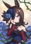 1girl :o absurdres animal_ears bangs bare_shoulders blue_dress blue_flower blue_headwear blue_rose blush breasts brown_hair commentary_request dagger dress eyebrows_visible_through_hair flower hair_over_one_eye hand_up hat hat_flower highres horse_ears ichikawayan long_hair long_sleeves looking_at_viewer off-shoulder_dress off_shoulder parted_lips rice_shower_(umamusume) rose signature sleeves_past_wrists small_breasts solo tilted_headwear umamusume very_long_hair violet_eyes weapon