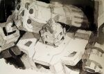 1boy aircraft airplane bb_(beast_wars_ii) beast_wars beast_wars_ii bomber cannon greyscale marble-v mecha military military_vehicle monochrome predacon shoulder_cannon transformers visor