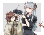 2girls arknights beige_coat black_pants black_shirt brown_hair buttons coat collarbone collared_shirt dragon_girl dragon_horns dragon_tail earrings eyebrows_visible_through_hair feather_hair glasses grey_background hat holding holding_clothes holding_hat horns id_card jewelry long_hair mabing motion_lines multiple_girls one_eye_closed orange_eyes pants police police_uniform rhine_lab_logo saria_(arknights) saria_(iron_law)_(arknights) shirt short_hair shoulder_pads silence_(arknights) silver_hair simple_background tail turtleneck uniform walkie-talkie