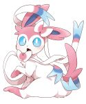 blue_eyes blush commentary creature dagashi_(daga2626) fangs full_body gen_6_pokemon highres looking_at_viewer looking_back no_humans open_mouth paws pokemon pokemon_(creature) simple_background sitting solo sylveon toes tongue white_background white_fur