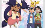 1girl 2boys ash_ketchum black_hair dark_skin gen_1_pokemon gen_8_pokemon goh_(pokemon) grookey hat highres iris_(pokemon) multiple_boys official_art one_eye_closed pikachu pokemon pokemon_(anime) pokemon_swsh_(anime) purple_hair