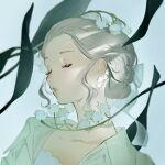 1girl blue_background closed_eyes earrings flower grey_hair hair_ribbon highres jewelry mu_mashu original parted_lips plant portrait ribbon solo white_flower