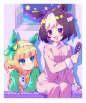2girls :d :o absurdres animal_ears blue_eyes blush braid brown_hair collared_shirt commentary_request dress_shirt ear_ribbon eye_contact green_jacket hair_brush hairband highres holding holding_brush horse_ears jacket long_hair long_sleeves looking_at_another multicolored_hair multiple_girls open_mouth orange_hair pajamas pants parted_lips pink_pajamas pink_pants pink_shirt purple_ribbon ribbon shao_(shaorouhong) shirt short_hair silence_suzuka_(umamusume) sitting sleeves_past_wrists smile special_week_(umamusume) star_(symbol) striped striped_shirt two-tone_hair umamusume vertical-striped_pants vertical-striped_shirt vertical_stripes violet_eyes white_hair white_hairband