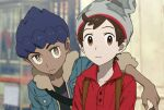 2boys arm_around_shoulder beanie black_shirt blue_jacket blurry blurry_background brown_eyes brown_hair buttons cable_knit collarbone dark_skin dark_skinned_male fur-trimmed_jacket fur_trim grey_headwear hat highres hop_(pokemon) indoors jacket looking_at_viewer male_focus multiple_boys pokemon pokemon_(game) pokemon_swsh purple_hair red_shirt sankaku shirt short_hair sleeves_past_elbows symbol_commentary victor_(pokemon) yellow_eyes
