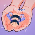 antennae artist_name bee bug crescent gradient gradient_background hands holding insect meyoco no_humans original pink_background purple_background sparkle striped wings
