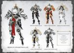 absurdres adapted_costume adepta_sororitas armor arms_at_sides bags_under_eyes belt_pouch black_hair blue_eyes character_sheet commentary_request dark_skin english_text fleur_de_lis gauntlets high_heels highres looking_at_viewer mecha_musume medium_hair moonface original pelvic_curtain pouch shoulder_armor sister_of_battle standing tsurime warhammer_40k weapon white_hair