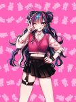 1girl alternate_hairstyle animal_print bangs black_hair black_nails blue_hair blush breasts bunny_print crop_top cropped_vest danganronpa_(series) danganronpa_2:_goodbye_despair double_bun ear_piercing gwanlamcha hand_on_hip highres jewelry long_hair looking_at_viewer medium_breasts mioda_ibuki multicolored multicolored_hair multicolored_nails nail_polish o-ring one_eye_closed piercing pink_background pink_eyes pink_hair pink_nails pink_vest pleated_skirt shiny shiny_skin shirt skindentation skirt solo symbol_commentary thigh_strap tongue tongue_out v vest w wavy_hair white_hair