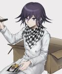1boy aji_kosugi bangs black_hair box carton checkered checkered_scarf closed_mouth commentary_request danganronpa_(series) danganronpa_v3:_killing_harmony grey_background grey_jacket hair_between_eyes hand_up highres holding holding_pen jacket long_sleeves male_focus ouma_kokichi pants pen photo_(object) purple_hair scarf short_hair sitting solo straitjacket upper_body violet_eyes white_pants yonaga_angie