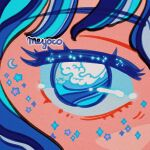 1girl artist_name blue_hair close-up crescent eyebrows_visible_through_hair eyes meyoco multicolored_hair original solo sparkle star_(symbol) waves
