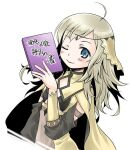 ahoge bangs blonde_hair breasts cape circlet closed_mouth detached_sleeves fire_emblem fire_emblem_fates grey_eyes holding holding_weapon long_hair looking_at_viewer mizuna_tomomi one_eye_closed ophelia_(fire_emblem) smile turtleneck upper_body weapon